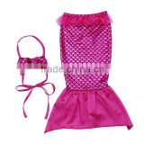 fashion clothing 2016 hot pink sequin mermaid set two piece mermaid swim suit