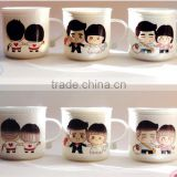 creative hot-selling cartoon 320ml lovers heat sensitive color changing ceramic mug with lid and spoon