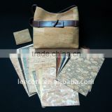 Cork Fabric with natural cork veneer and PU backing for bag, wallet, sofa