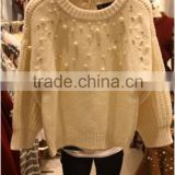 Chinese homemade ladies' round neck raglan 3/4 sleeve pullover half cardigan knitted sweater with beads