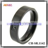 Black stainless steel puzzel ring with only one diamond inlay for men