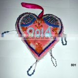 Glass Beads Heart Ornaments & Decorations for Christmas Tree Multi Color