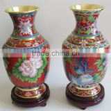 Intangible Cultural Heritage in Baoding chinese ornamental flower and bird pattern designs cloisonne enamel vases