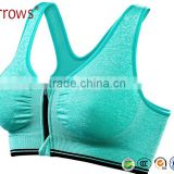 Women's Strech Removable Pads Front Zipped Plain Comfortable Sport Bra