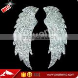 Hot Sale Bling Rhinestone Iron on Glitter Vinyl Wing Rhinestone Heat Transfer Pressed for Shirt