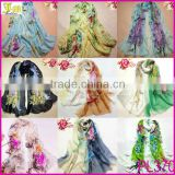 2014 Newest Fashion Flower Peacock Silk Chiffon Neck Scarf Wrap Shawl Stole Neck Wrap Women