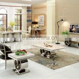 2016 luxury stainless steel dining table/ elegant marble Dining table for wholesale AH068