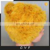 Handmade rabbit fur winter hats genuine fur weaven beanies with rabbit fur pompom