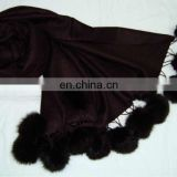 Silk Pashmina wool , Plain Pashmina shawl with Fur balls