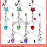 Belly button ring with flower and heart on a vine with CZ crystal navel ring in stainless steel body piercing jewelry