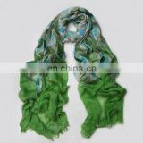 peacock feather print shawl scarf