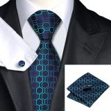 Stwill Blue Polyester Woven Necktie High Stitches Adjustable