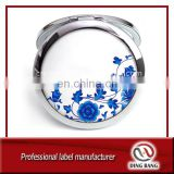 High Quality Custom Made Blue And White Porcelain Style Sliver Promotion Gift Cheap 70mm Metal Epoxy Pocket Mirror