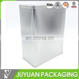 Large rectangular food storage packaging tin box with hinge