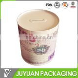 Fancy cylinder tins piggy bank can with custom printing wholesale