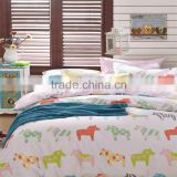 Best fashion cute animal horse printed cotton children bed cover set reactive printing kids cartoon bedding set