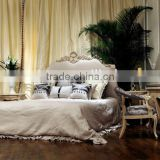 Luxury french rococo style bedroom furniture set Royal design Upholstery Bed Wood king size bed                                                                         Quality Choice