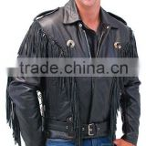 2015 New fashion Black Fringed Leather Jacket With Removable Belt for mens motorbike leather jacket