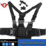 A Model:chest body stra chest belt for Gopro Hero 2/3/3+/4/4 Session, gopro accessories with 3-way adjustment base