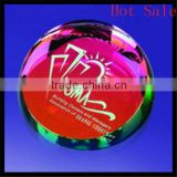 optical crystal dome paper weight, half sphere crystal paperweight with custom engraving on