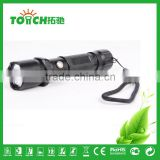 Hot sale 1W super bright rechargeable lumen bulb led flashlight aluminum alloy black color middle switch torch