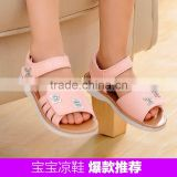2016 New Pink Princess Baby Girls sandals sandals leather lining Velcro bow children sandals