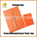 China manufacturer biodegradable large size knot garbage plastic bags on flat