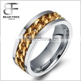 fashion gold chain ring wedding stainless steel spinner rings for women men punk rock