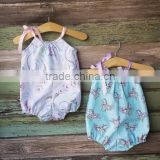 Baby girl floral romper bubble romper cotton printed playsuit handmade