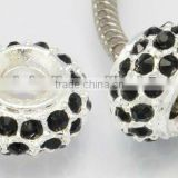 Alloy Glass Rhinestone European Beads, No Metal Core, Black Metal Pave Beads(CPDL-H017-8)