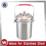 1.0 Gallon Stainless Steel Kitchen Compost Bin with silicone handle