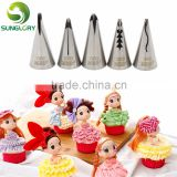 Hot selling Wedding Cake Decorating Icing 5PCS Stainless Steel Russian Nozzles Pastry Bobbi Skirt Cake Nozzles Decoration Piping