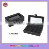 Luxury Glass Top Black Pu Leather Cuff link Box For Storage Wh-0574