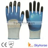 13G Polyester Shell Nitrile Coated finger reinforced Safety Work Gloves, oil field work glove