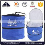 Enrich new design 2 in 1 Outdoor HOT wholesale round portable charcoal bbq grill with cool bag