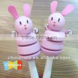 sell top popular promotion wooden rabbit baby rattle