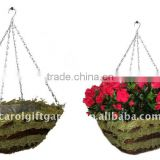 Green Moss and Brushwood Square hanging planter - Moss hanging basket -Moss square hanging flower pot