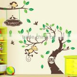 Custom DIY home decorative tree wall sticker animal nursery wall decals eco-friendly waterproof removable vinyl wall sticker