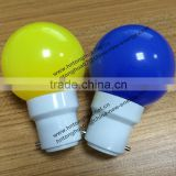 B22 plastic base of LED G45 color light bulb 1W E27 / B22 , PC cover , IP45 , CE & ROHS