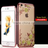 Hot Selling Luxury Garden Style Crystal Clear Soft TPU Diamante Eletroplated Case for Iphone 6