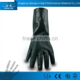 Fleece lined gauntlet cuff alkali resistant PVC industrial gloves