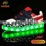 Fashionable American flag style led shoes kids light sports shoes and sneakers for adult casual 2017