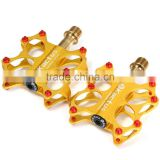 2pcs Kactus KTPD - 07 Bike MTB Cycling Pedals Gold-plating Titanium Spindle Footrest Flat CNC 3 Bearings Ultralight Pedals