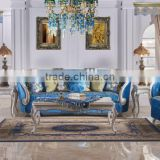 Graceful blue fabric solid wood hand carving frame living room sofa set
