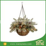Glittery Lighted Chrismas Decorative Hanging Basket Tree