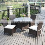 2017 Trade Assurance Outdoor Promotion pe rattan resin wicker banquet 4pcs modern high back dining table set