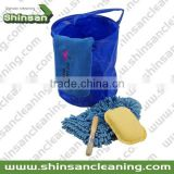 blue 270g microfiber PVC car clean set /microfiber car cleaning kit/microfiber handle car wash kit