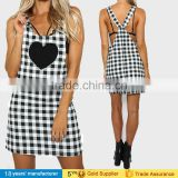 Sweet women square neck lace up strappy backless zipper sleeveless plaid summer mini dresses patterns with heart print