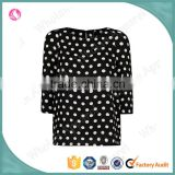 Latest fashion allover dotted print women blouse new fashion girl tops and blouse design