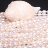 High Purity 6-7mm Rice Shape 925 Sterling Silver Chain Natural Fresh Water Pearl Necklace White Pink Golden Pearl Beads